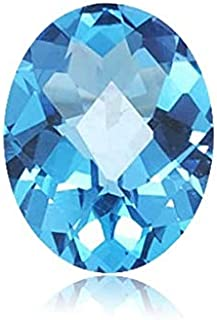 Swiss Blue Topaz Oval Checkered Shape AAA/AA Quality Loose Gemstone from 7x5MM-22x16MM