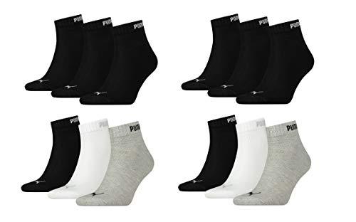 Puma Socken Quaters 12 Paar 4x3pack Unisex Größe 43-46 4x Weiß perfekte Belüftung und ein bequemer Schnitt. (2x Schwarz/2x Miks)