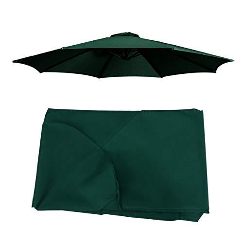 Cabilock Cubierta de Sombrilla de Patio Protección Uv de Poliéster 8 Costillas Mesa de Exterior Cubierta de Sombrilla Reemplazo de Cubierta de Sombrilla para Sombrilla Sunbrella (Verde