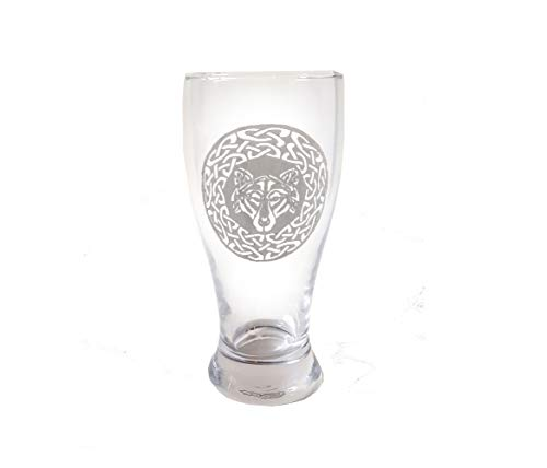 Celtic Wolf Pint Glass - Free Personalized Engraving, Wolf Beer Glass
