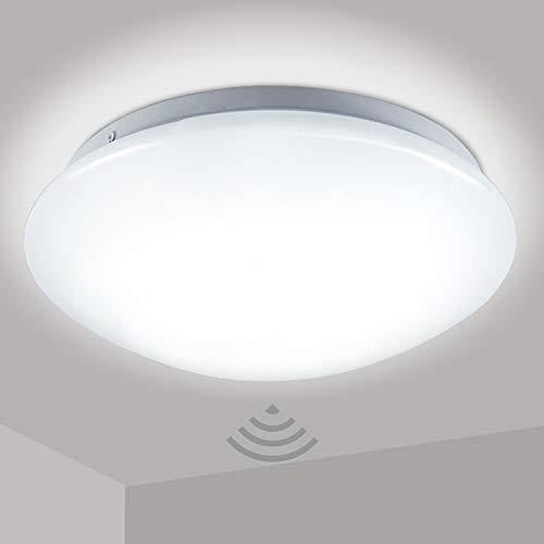 Hengda LED Deckenlampe mit Bewegungsmelder Deckenleuchte mit Tageslichtsensor Warmweiss 12W 960 Lumen Ø24 cm für Kellerräume Flure Eingangsbereiche Badezimmer