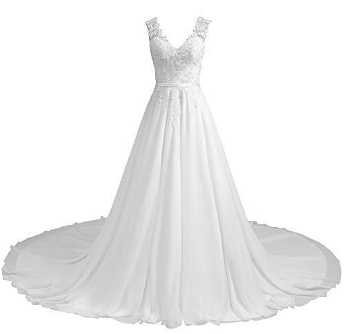 Romantic-Fashion Brautkleid Hochzeitskleid Weiß Modell W195 A-Linie Stickerei Satin DE Größe 44