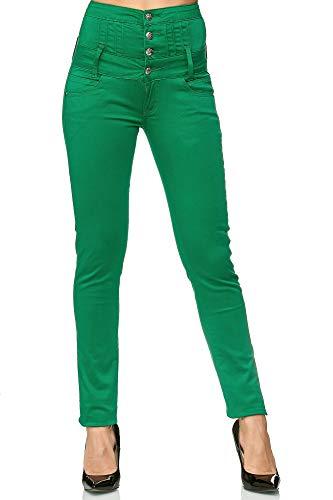 Elara Elara Damen Stretch Jeans Skinny High Waist Chunkyrayan Y1808 NewGreen 36 (S)