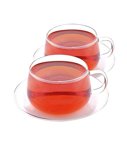 VAHDAM, Glitter - Set of 2 Tea Cup & Saucer | Borosilicate Glass Tea Cups & Saucers Sets | 8.45 oz Capacity - DURABLE - Tea Cup Set (4 Pcs) - Microwave, Refrigerator & Dishwasher Safe | Coffee Mugs