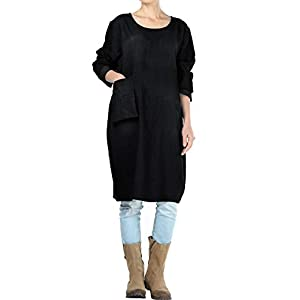 Women's Denim Dresses Long Sleeve Casual Shirt Dress with Unique Pockets
