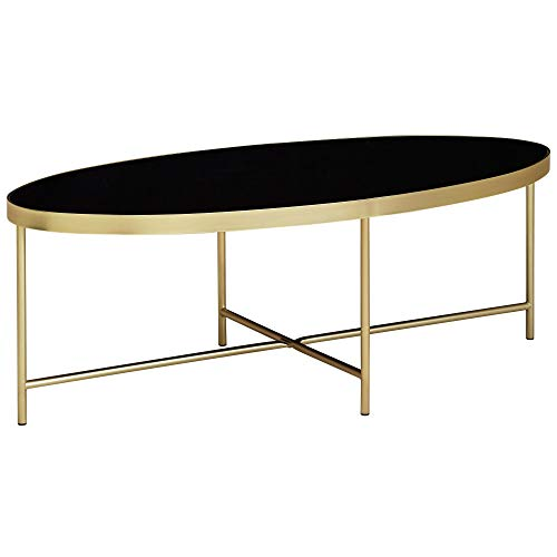 FineBuy Design Couchtisch Glas Schwarz - Oval 110 x 56 cm mit Gold Metallgestell | Großer Wohnzimmertisch | Lounge Tisch Glastisch