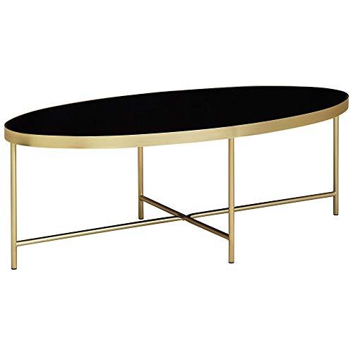 Wohnling Design Couchtisch Glas Schwarz - Oval 110 x 56 cm mit Gold Metallgestell | Großer Wohnzimmertisch | Lounge Tisch Glastisch