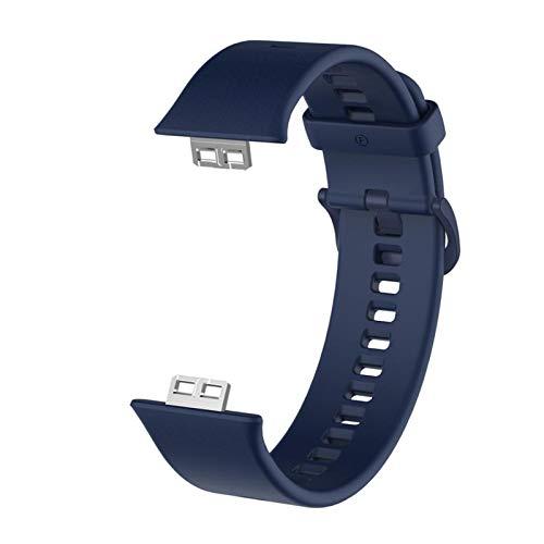 ZAALFC Correa de silicona 2021 para Huawei Watch FIT Correa de reloj de repuesto de pulsera (color de la correa: azul marino, ancho de la correa: para Huawei Fit)