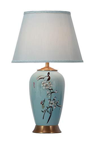 Fine Asianliving Chinesische Tischlampe Porzellan mit Lampenschirm E27 Orientalische Tischleuchte Keramik Nachttischlampen Schlafzimmer Wohnzimmer