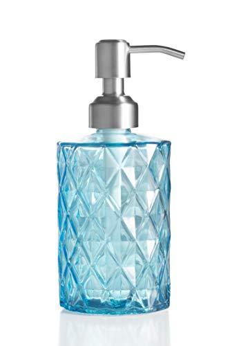Ekirlin Glas Seifenspender für Küche, Bad - Nachfüllbare Handwaschflüssigkeit Klarglasflasche, 340ml Glasspender mit Edelstahlpumpe für Geschirrspülmittel, ätherisches Öl, Shampoo Lotion (Blau)