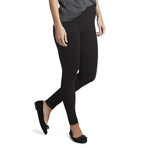 HUE Women's Plus Size Cotton Ultra Legging with Wide Waistband, Assorted, Black, XX-Large