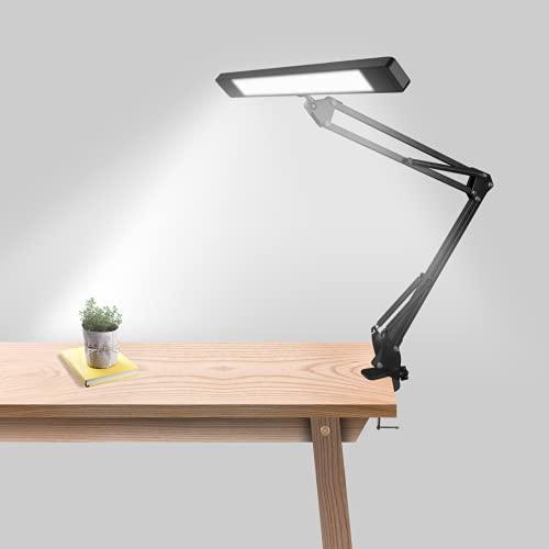 Lámpara Escritorio LED, Wellwerks 12W Flexo LED Escritorio,3 Modos de Color + 10 Niveles de Brillo Cuidado Ocular Lámpara Abrazadera Para leer, estudiar,trabajar…