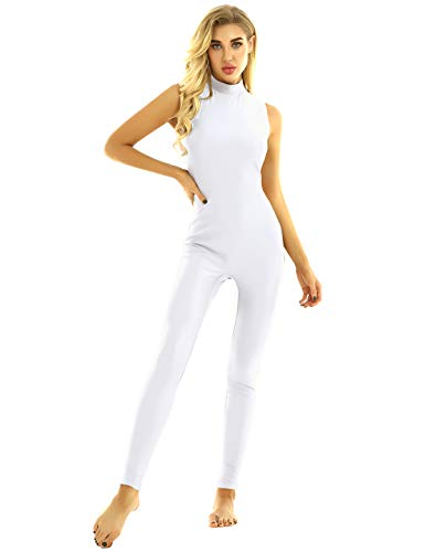 FEESHOW Frauen Ganzanzug Ärmellos Body Jumpsuit mit Stehkragen Einteiler Unitards Trikot Leotard Ballett Gymnastik Yoga Dancewear Weiß Large