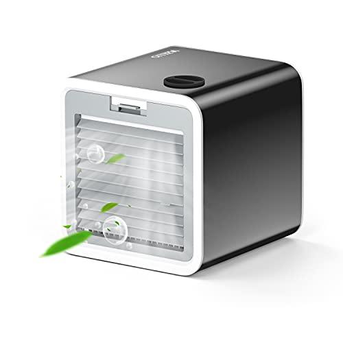 VAZILLIO Mini Climatizzatore Portatile, 3-en-1 Condizionatore - Raffreddatore d'Aria/Umidificatore/Ventilatore del Condizionatore Mobile Silenzioso, 3 Velocità, Ricarica USB per Ufficio/Casa - Nero