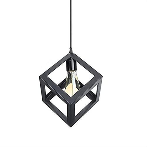Unik metallhängande ljus, svart matt kullbelysning med enkel geometrisk kubdesign E27 Bas 1- Ljus för Loft Hallway Kitchen Bar AC110V - 240V [Energy Class A +++]