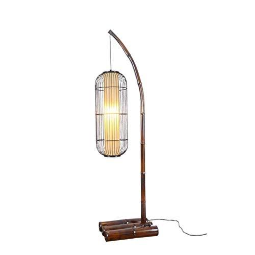 KAISIMYS Lámparas de pie Lámpara de pie de Arco LED con Base de bambú - Iluminación de Sala de Estar para - Lámpara de Techo de pie Alta China Moderna Lámpara Colgante Lámparas de pie Verticales Ilum