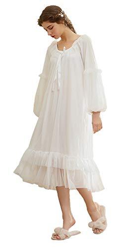 QIKEGooods Damen Nachthemd, 100% Baumwolle, viktorianisches Nachthemd, langärmelig Gr. Medium, Gt1702-weiß