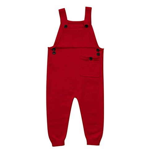 Lisin Toddler Kids Baby Boys Girls Knitted Overalls Strap Rompers Jumpsuit Outfits (Red, Size:24Months)