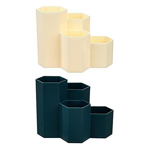 Portalápices Hexagonal, Portalápices de plástico para almacenamiento,Brocha de maquillaje multifunción, jarrón brocha hexagonal, bote portalápices, papelería almacenamiento,para Oficina, Hogar, Escuel