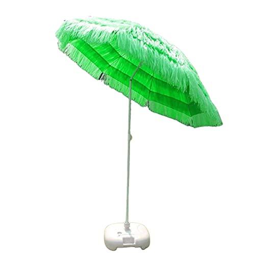 Paraguas portátil de 2,2 m, paraguas de playa hawaiano con techo de paja, paraguas resistente al agua, para césped, piscina, patio, jardín, mejor paraguas de viento