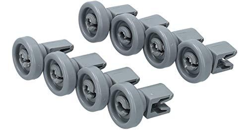 IPRIME Spülmaschine Oberrkorbrollen (1 Set = 8 Stück), untere Korbrollen geeignet für AEG Favorit, Privileg, Zanussi, UVM.