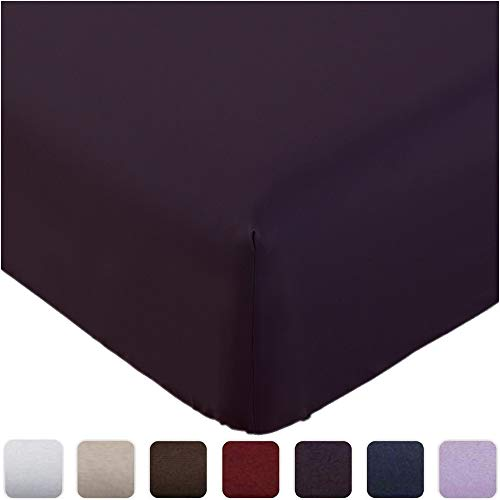 Mellanni Fitted Sheet Queen Purple - Brushed Microfiber 1800 Bedding - Wrinkle, Fade, Stain Resistant - Deep Pocket - 1 Single Fitted Sheet Only (Queen, Purple)