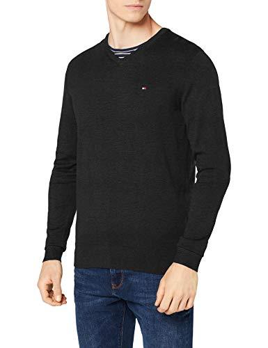 Tommy Hilfiger Core Cotton-Silk Vneck suéter, Gris (Charcoal Htr 093), Medium para Hombre
