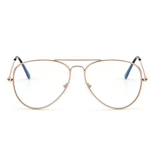 Blaues Licht blockiert Computer Lesebrille, Retro Flieger Stil Reduzieren Auge Belastung Anti Blendung Klar Linse Video Gläser Damen Herren(Gold/Klar)