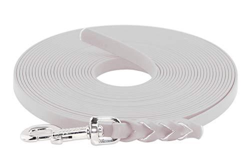 LENNIE BioThane Schleppleine, 13mm, Hunde 15-25kg, 3m lang, ohne Handschlaufe, Weiß, geflochten