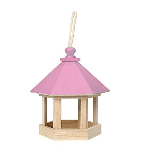 Gu3Je Comederos para pájaros, Pájaro de Madera Alimentador de jardín Decoración Colgante Yard Hexagonal Casa Forma Pet Pájaro Alimentador para jardín al Aire Libre (Color : Pink)