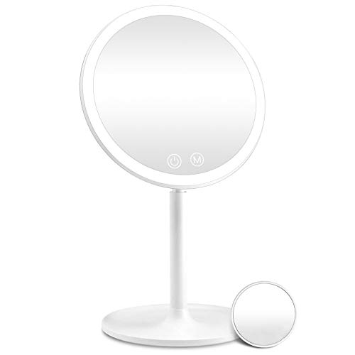 Rechargeable Lighted Makeup Mirror, 1X/10X Magnifying Vanity Mirror with 46 LED Lights, 3 Lighting Modes Dimmable 90 Degree Rotation Touch Screen, Light Up Mirror for Travel, Portable Cosmetic Mirror