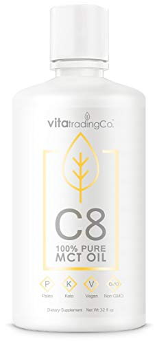 VitaTradingCo C8 MCT Oil 100% Pure 32 oz   Keto and Paleo   Caprylic Acid   Clean Energy   Healthy Fat   Sustainably Sourced and Non-GMO   64 Servings