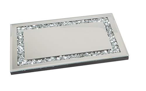 Lifestyle & More Dekoratives Spiegeltablett Tablett Exklusives Serviertablett aus Holz und Spiegel Glas Silber 33x22 cm