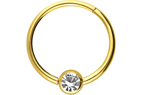 PIERCINGLINE Titan Clicker Ring   Kugel mit KRISTALL   Piercing Nase Septum Ohr Helix Tragus   Farb & Größenauswahl