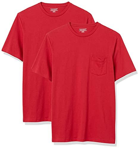 Amazon Essentials Herren T-Shirt, lockere Passform, Rundhalsausschnitt, Brusttasche, 2er-Pack, Rot (Red Red), US XL (EU XL - XXL)