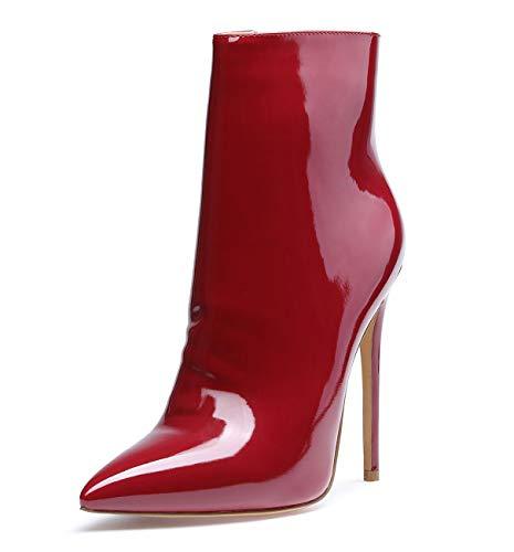 CASTAMERE Damen Reißverschluss Stiefeletten Stilettos Hoch Heel 12CM Rot Wein Lackleder Schuhe EU 44