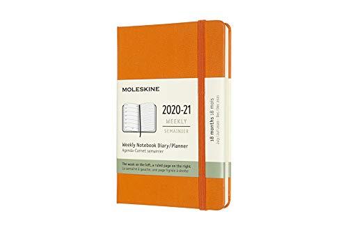 Moleskine - Agenda Settimanale 18 Mesi, Agenda Tascabile 2020/2021, Weekly Notebook con Copertina Rigida e Chiusura ad Elastico, Formato Pocket 9 x 14 cm, Colore Arancio Cadmio, 208 Pagine