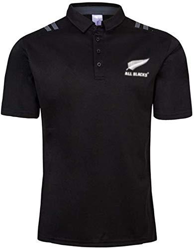 DZTIZI Herren Rùgby Jérsey,2019 All Blacks Heim- und Auswärts-Rùgby-Poloshirt-Trainings-T-Shirt,Unterstützer Fußball T-Shirt Sport Top,Black-XL