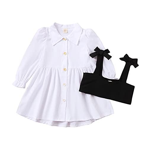 1-6 años vestido de camisa para niñas pequeñas con corsé chaleco de manga larga Bustier vestido vintage Streetwear bebé otoño vestido, E-blanco., 18-24 Meses