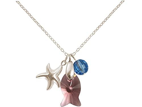 Gemshine 925 silberne Damenhalskette mit 925 silbernem Seestern, rosa Fisch und blauer Kugel Anhängern, MADE WITH SWAROVSKI ELEMENTS®, 45 cm