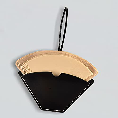 ONEVER Soporte de filtro de café, dispensador de filtro de café de cuero, soporte de servilleta de almacenamiento, adecuado para papel de filtro de café cónico y en forma de abanico