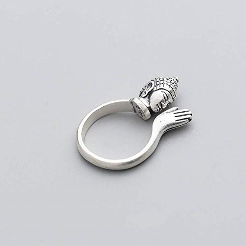 Thumby S990 Silver Ring Female Silver Retro Buddha Phase Ring Temperament Classic Like Buddha's Index Finger Ring, Glossy, Opening adjustable