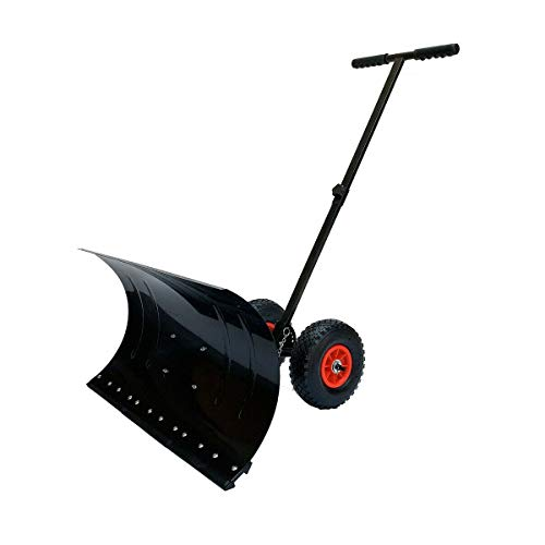 SOFEDY Snow Shovel Pusher, Heavy Duty Snow Shovel with Adjustable Handle & Anti-Skid Wheels, Large Wheeled Snow Removal for Driveway (29 x 13 inches Blade)