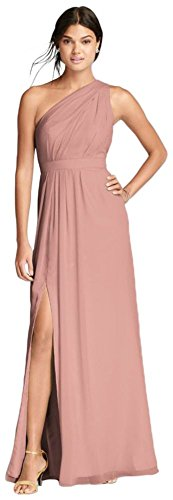 David's Bridal Long One-Shoulder Crinkle Chiffon Bridesmaid Dress Style F18055, Ballet, 10