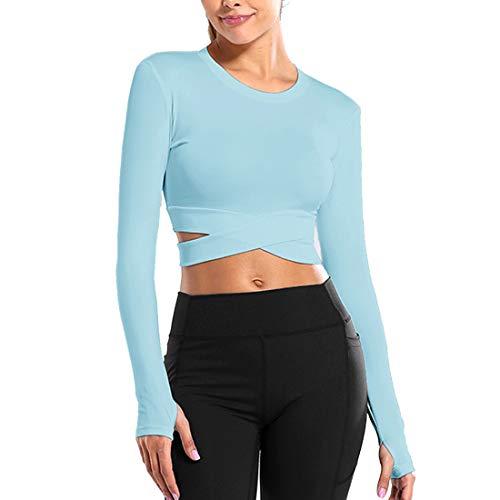 MoneRffi Camisetas Mujer Yoga Ropa Mujer Deportiva Top Larga de Verano Superior Corta Funcional Mujer Atractiva Apretado Deportes Blusas