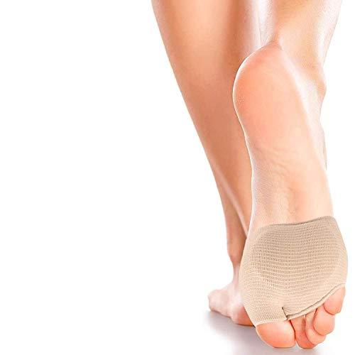 2 pares protectores para el metatarso de tela, con almohadillas de gel para las plantas de los pies, alivia el dolor