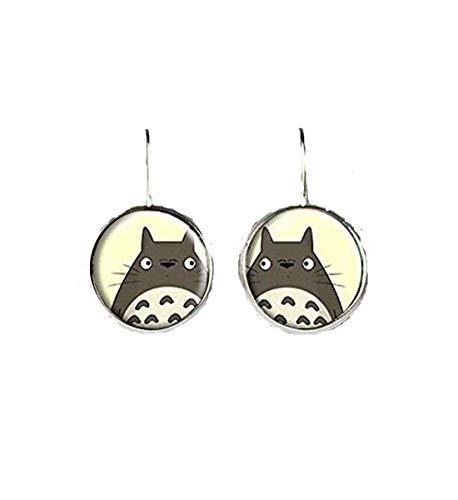 Totoro-Ohrringe, Mein Nachbar Totoro-Ohrringe, Totoro-Schmuck, kuppelförmiger Glasschmuck, reine Handarbeit