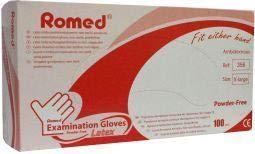 Romed Latex Handschuh unsteril puderfrei XL - 100 Stk