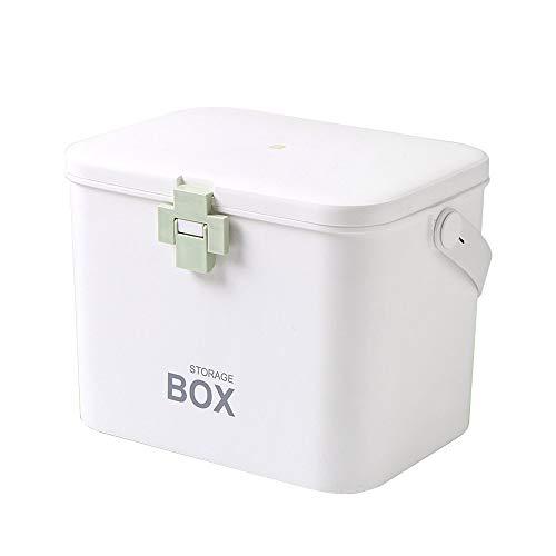 N/A - Caja de primeros auxilios con cerradura para medicamentos, kit de emergencia familiar, organizador de gabinete, color verde