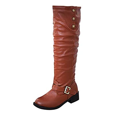 Knee-High Boots for Women,Jchen Vintage Ladies Low Heels Winter Keep Warm Shoes Over The Knee Winter Buckle Boots